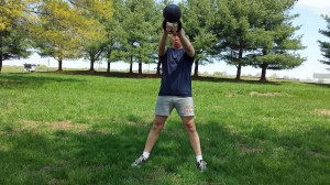The mighty kettlebell swing is great to pair with sprints