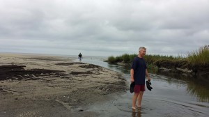 walking over sand and through water
