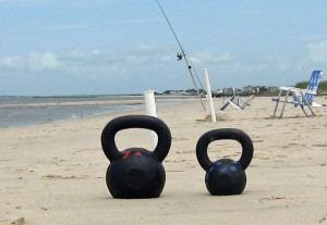 Kettlebell training and the beach go perfect together!