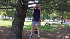 A tree branch makes a good chin up or pull up bar